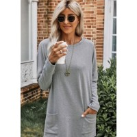 Believe Boutique Grey Long Sweater with Pockets