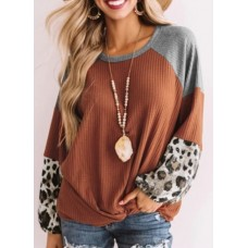 Believe Boutique Sweater with Leopard Print Sleeves